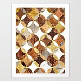 Wood and Gold Geometric Art Print