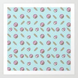 Cute funny teal blush pink food sweet donuts polka dots Art Print