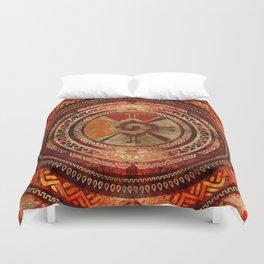 Hunab Ku Mayan symbol Burnt Orange and Gold Duvet Cover