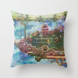 Final Fantasy VI Terra Branford Airship Impressionist Painting Throw Pillow