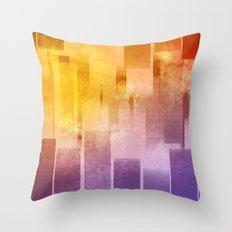 Yellow and purple stripes minimal design Throw Pillow