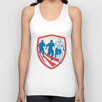 crossfit Tank Tops featuring American Crossfit Runners USA Flag Retro  by patrimonio