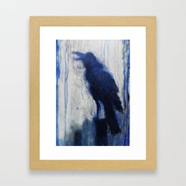 Contemporary Blue Raven Weather Abstract Painting  Framed Art Print