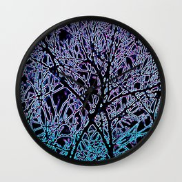 Tangled Tree Branches in Blue and Teal Wall Clock