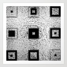 Nested Squares in Silver & Black  Art Print