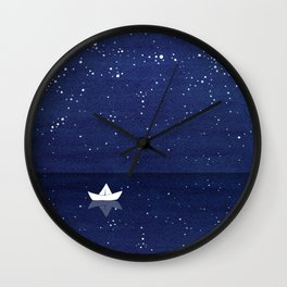Zen sailing, ocean, stars Wall Clock