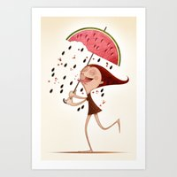 mandie manzano Art Prints featuring Watermelon by José Luis Guerrero
