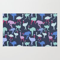 ostrich Area & Throw Rugs featuring Ostrich Pattern by Katelyn Patton