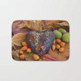Autumn Still Life With Glass Heart Bath Mat