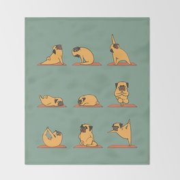 Pug Yoga Throw Blanket
