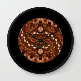 Brown Yin a Yang mandala Wall Clock
