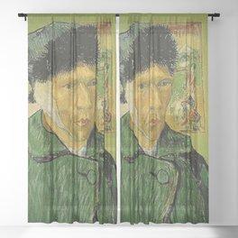 SELF PORTRAIT WITH BANDAGED EAR - VAN GOGH  Sheer Curtain