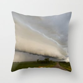 Shelf Cloud Over Country Road 1 Throw Pillow