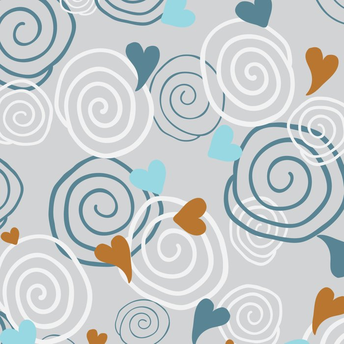 Cinnamon Swirls and Hearts - Gray-Blue-Caramel Leggings