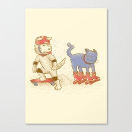 Skateboard dogs don't like roller skate cats Canvas Print