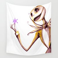 jack skellington Wall Tapestries featuring Jack Skellington by Leanne Engel