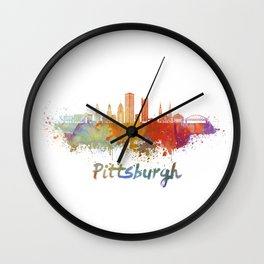 Pittsburgh V2 skyline in watercolor Wall Clock