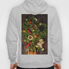 fresh carrots bunch, herbs and spices on dark rustic background Hoody