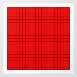 Black Grid On Red Art Print