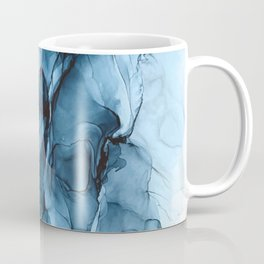 Deep Blue Flowing Water Abstract Painting Coffee Mug