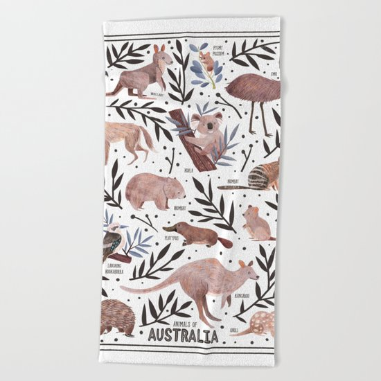 Animals of Australia Field Guide Beach Towel