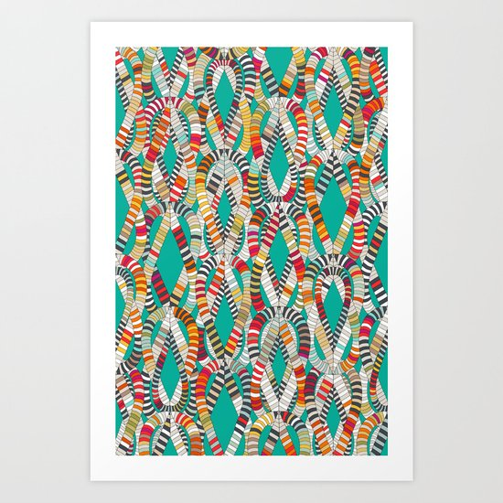 knot drop turquoise Art Print