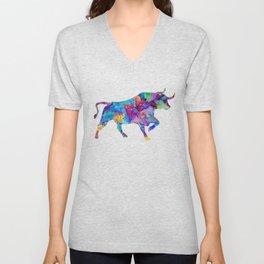 Watercolor Bull Art Gift Wildlife Animal Art Ox Art Colorful Gift Unisex V-Neck