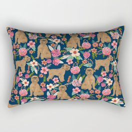 Brussels Griffon florals pattern for dog lovers custom pet friendly gifts for all dog breeds Rectangular Pillow