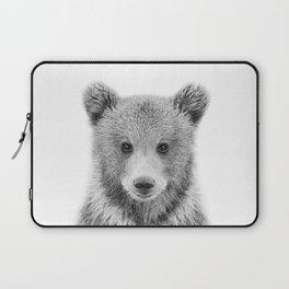 Baby Bear Black & White, Woodland Nursery Decor, Baby Animals Art Print by Synplus Laptop Sleeve