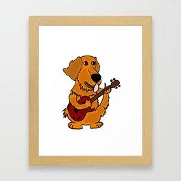 Funny Golden Retriever Dog Playing Guitar Artwork Framed Art Print