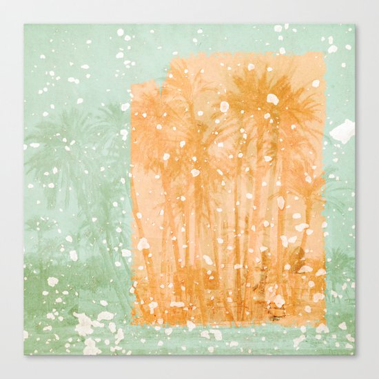 Palm Trees in Teal and Peach Canvas Print
