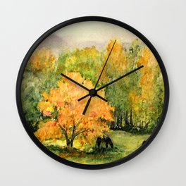 Autumn Landscape Horses Under Maples Wall Clock