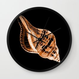 Shell nautical coastal in black background Wall Clock