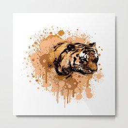Tiger Watercolor Portraits Metal Print