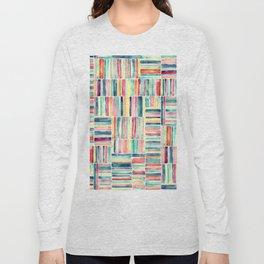 Retro Beach Chair Pastel Watercolor Stripes Long Sleeve T-shirt