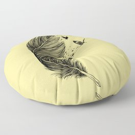 Feather Birds BW Floor Pillow