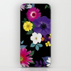 Bright flowers on a black background iPhone Skin