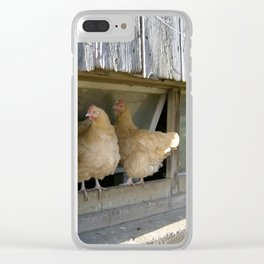 Farm Animal Photography Pair of Chicken Best Friends Buff Orpingtons Clear iPhone Case