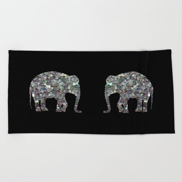 Sparkly colourful silver mosaic Elephant Beach Towel