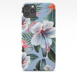 Hawaii, tropical hibiscus vintage style blue dream palm leaves iPhone Case