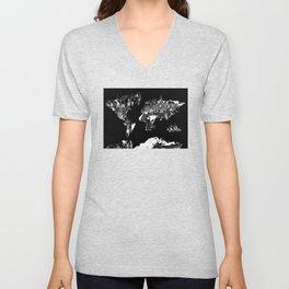 world map black and white Unisex V-Neck