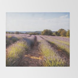 Lavender Fields at Sunset Throw Blanket