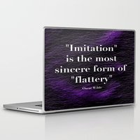 """oscar wilde Laptop & iPad Skins featuring """"Imitation is the most sincere form of flattery."""" - Oscar Wilde by Retro Designs"""