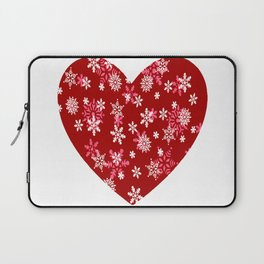Red Heart Of Snowflakes Loving Winter and Snow Laptop Sleeve