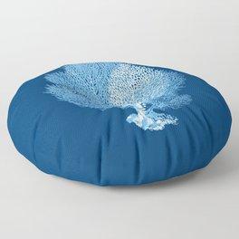Fan Coral Sea Life Print, Indigo Blue and White Floor Pillow