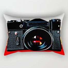 Old retro vintage slr camera Rectangular Pillow
