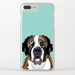Saint Bernard pet portrait dog breed gifts for pure breed dog lovers Clear iPhone Case