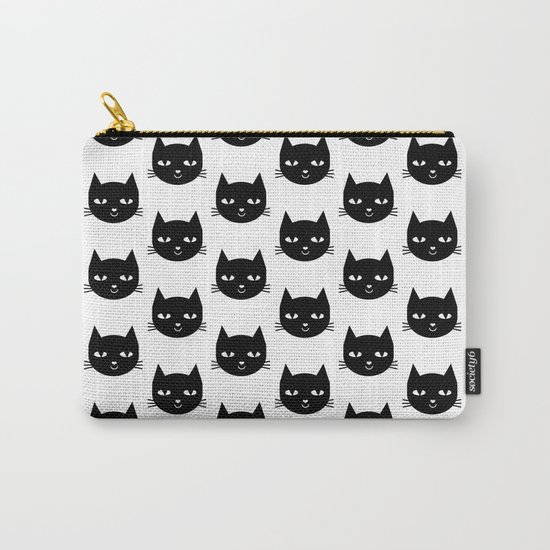 Cat Head - Black and White, Minimal, Monochrome, Animal, Kitty Simple Design Carry-All Pouch