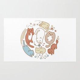 Seven cute cats. Rug