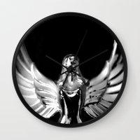 angel wings Wall Clocks featuring Angel Wings by Shaunia McKenzie